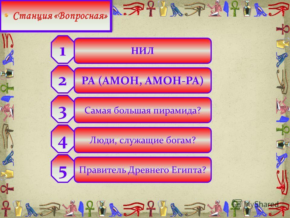 НИЛ РА (АМОН, АМОН-РА) Самая большая пирамида? Люди, служащие богам? Правитель Древнего Египта? 2 3 4 5 1