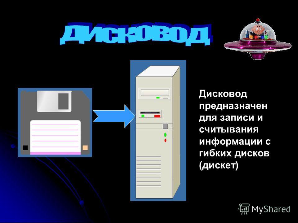 Дисковод предназначен для записи и считывания информации с гибких дисков (дискет)