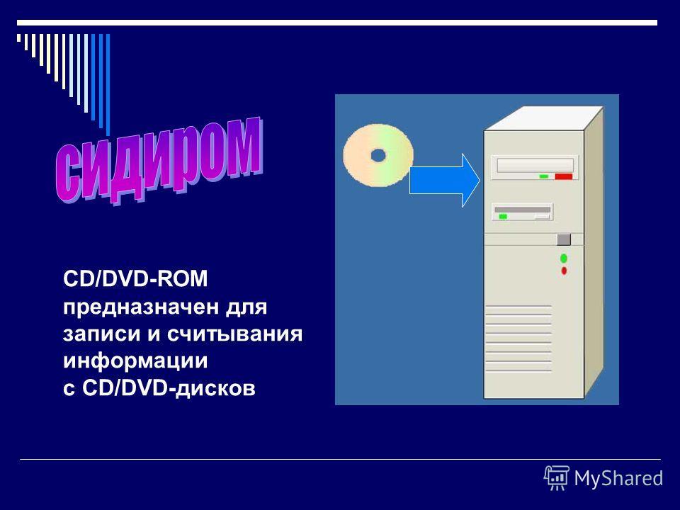 CD/DVD-ROM предназначен для записи и считывания информации с CD/DVD-дисков