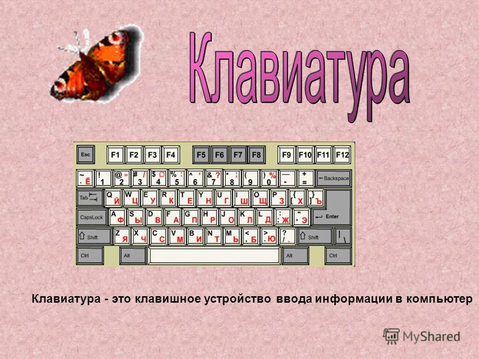 Клавиатура - это клавишное устройство ввода информации в компьютер