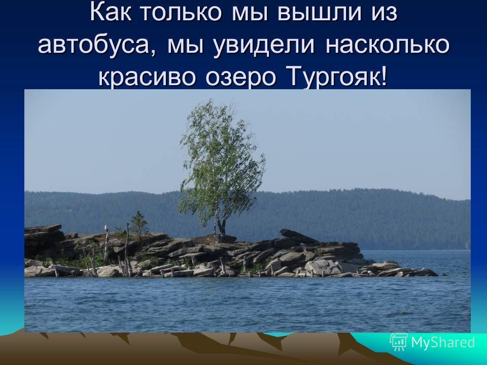 Как только мы вышли из автобуса, мы увидели насколько красиво озеро Тургояк!