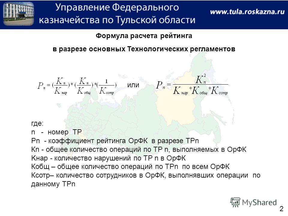 Формула расчета рейтинга в разрезе основных Технологических регламентов или где: n - номер ТР Рn - коэффициент рейтинга ОрФК в разрезе ТРn Кn - общее количество операций по ТР n, выполняемых в ОрФК Kнар - количество нарушений по ТР n в ОрФК Кобщ – об