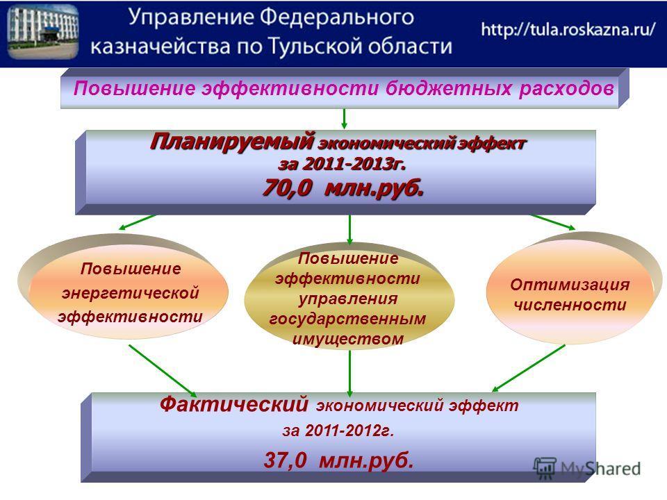 Повышение эффективности бюджетных расходов Повышение эффективности управления государственным имуществом Повышение энергетической эффективности Оптимизация численности Фактический экономический эффект за 2011-2012г. 37,0 млн.руб. Планируемый экономич