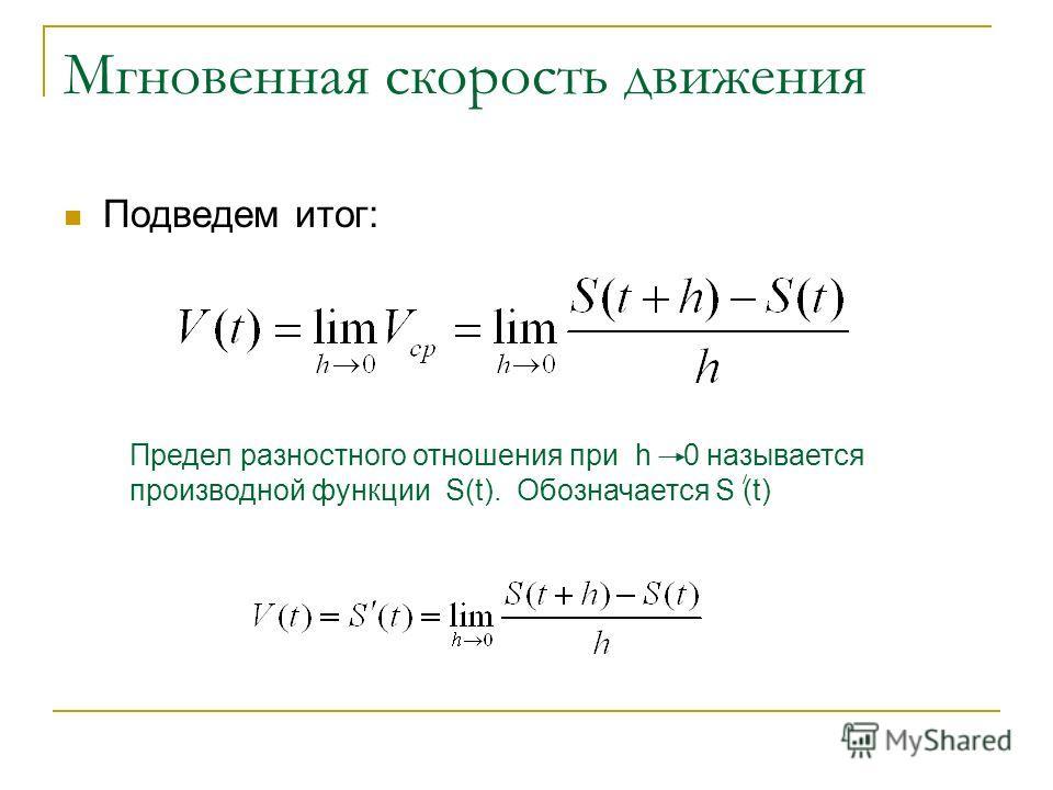Мгновенная скорость движения Подведем итог: Предел разностного отношения при h 0 называется производной функции S(t). Обозначается S (t)