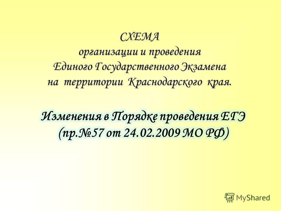 СХЕМА организации и проведения Единого Государственного Экзамена на территории Краснодарского края.