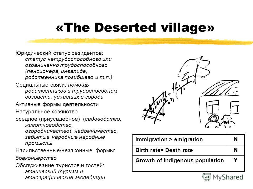 «The Deserted village» Юридический статус резидентов: статус нетрудоспособного или ограниченно трудоспособного (пенсионера, инвалида, родственника погибшего и т.п.) Социальные связи: помощь родственников в трудоспособном возрасте, уехавших в города А