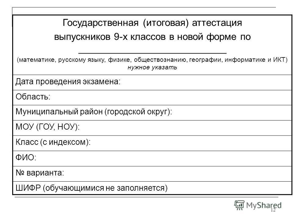 12 Государственная (итоговая) аттестация выпускников 9-х классов в новой форме по ___________________________ (математике, русскому языку, физике, обществознанию, географии, информатике и ИКТ) нужное указать Дата проведения экзамена: Область: Муницип