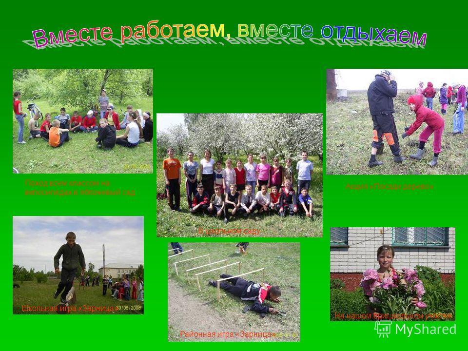 Поход всем классом на велосипедах в яблоневый сад В школьном саду Акция «Посади дерево» Школьная игра «Зарница» Районная игра «Зарница» На нашем пришкольном участке