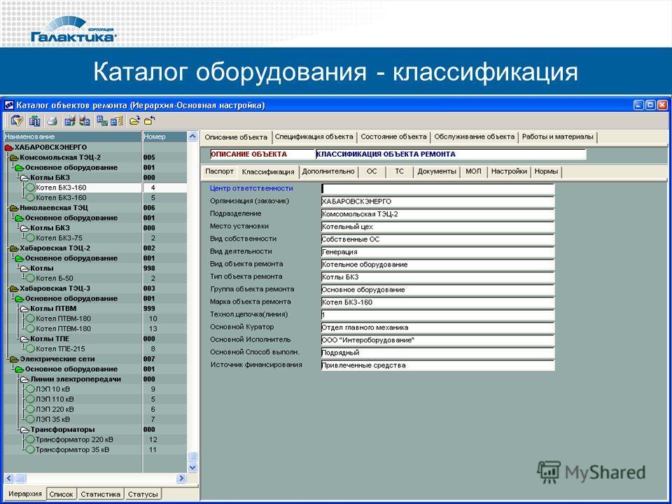 Каталог оборудования - классификация