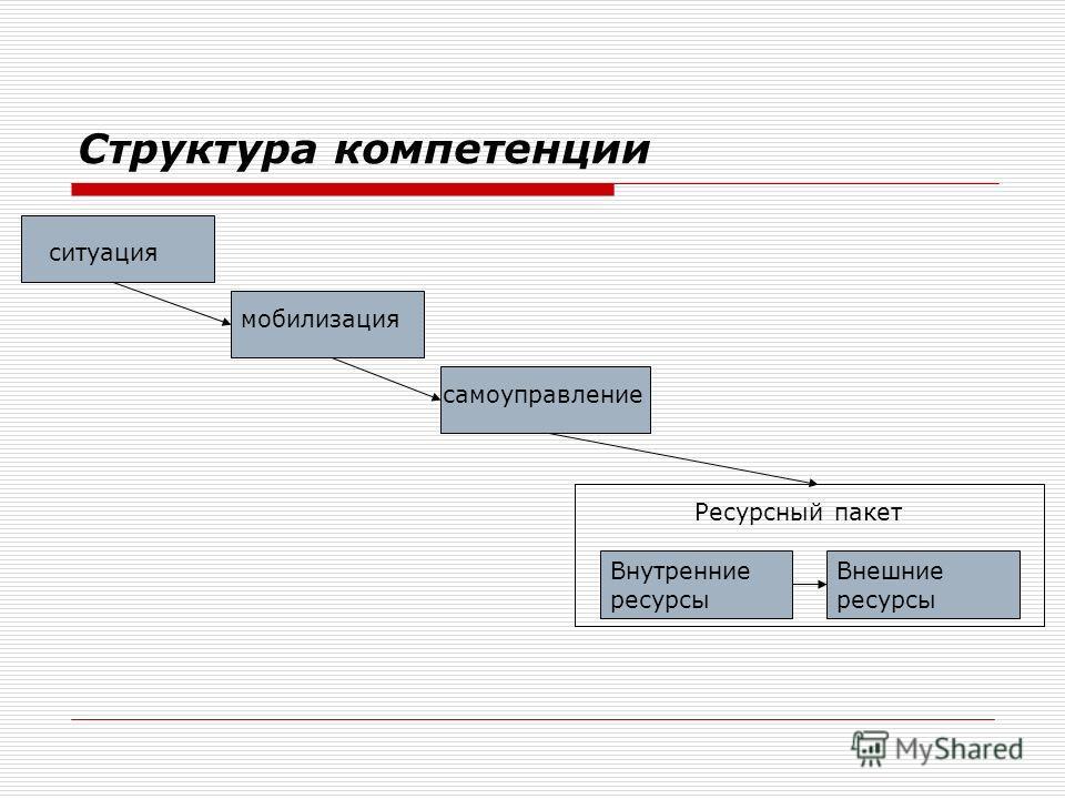 Структура компетенции ситуация мобилизация самоуправление Внутренние ресурсы Внешние ресурсы Ресурсный пакет