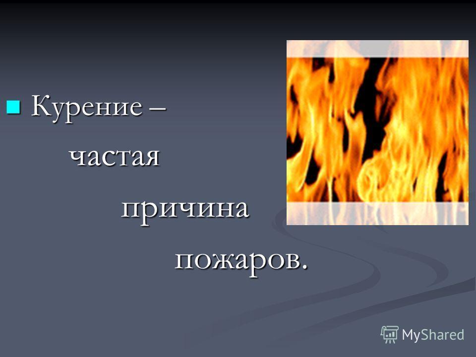 Курение – Курение – частая частая причина причина пожаров. пожаров.