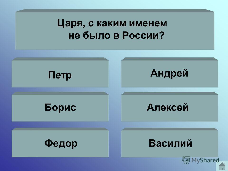 Царя, с каким именем не было в России? Петр Борис Федор Андрей Алексей Василий