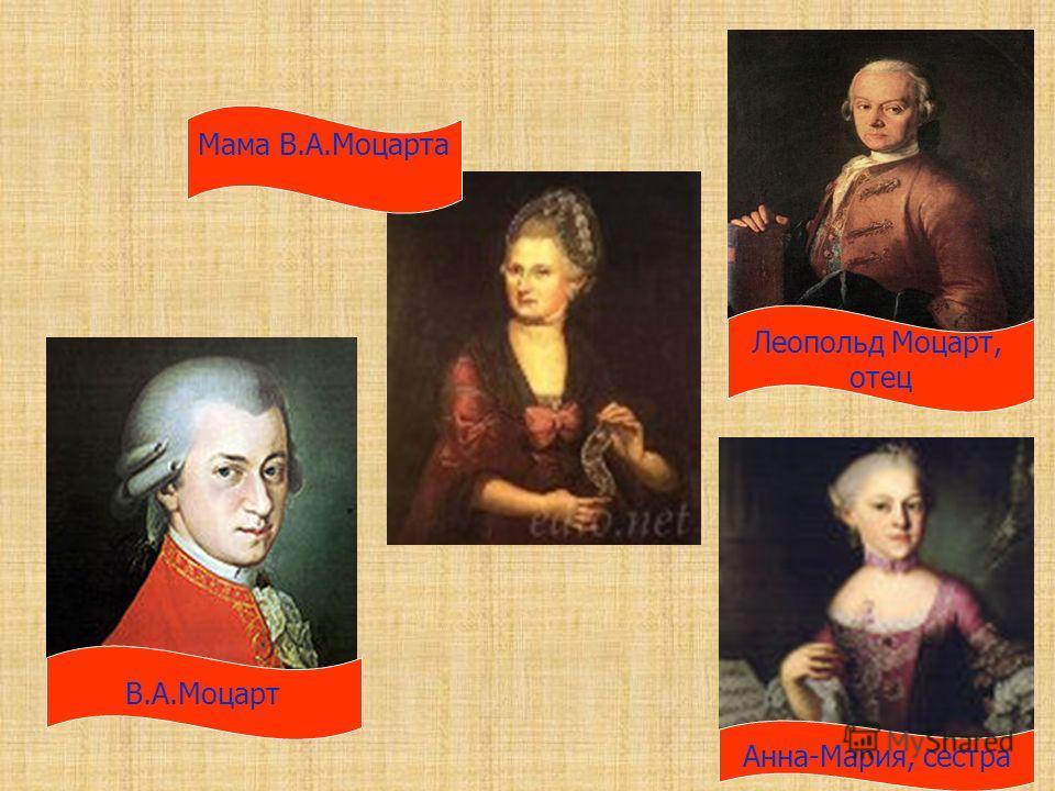 В.А.Моцарт Леопольд Моцарт, отец Мама В.А.Моцарта Анна-Мария, сестра