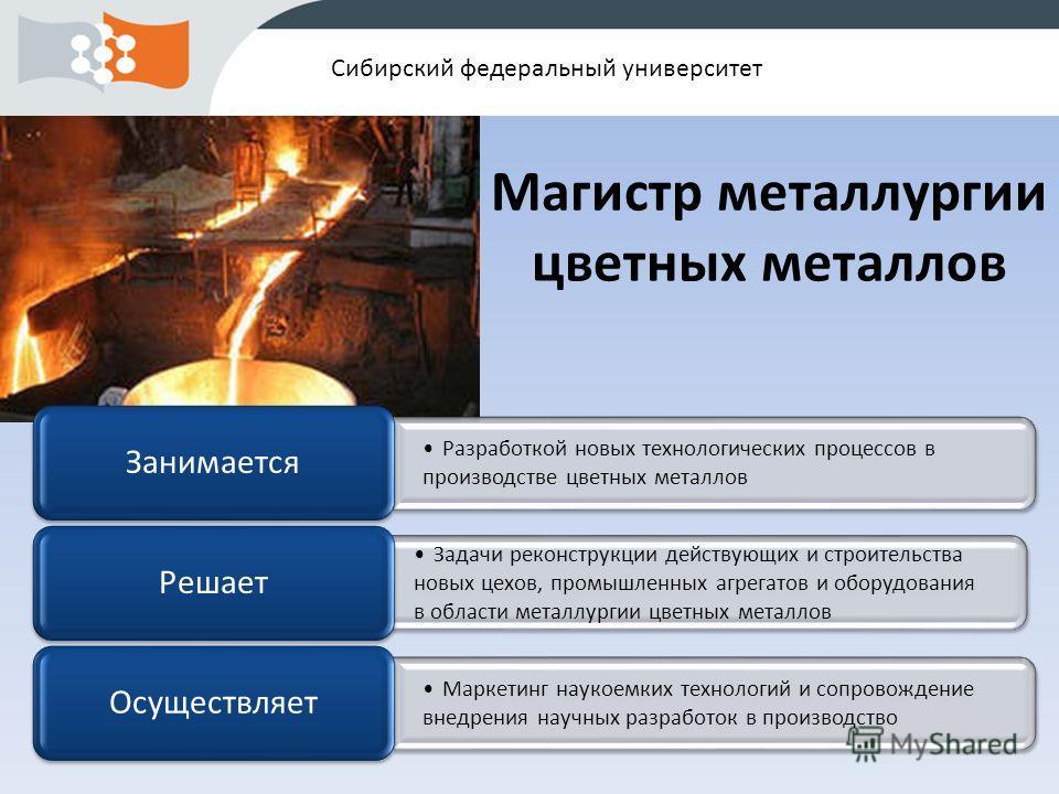 Сибирский федеральный университет Разработкой новых технологических процессов в производстве цветных металлов Занимается Задачи реконструкции действующих и строительства новых цехов, промышленных агрегатов и оборудования в области металлургии цветных