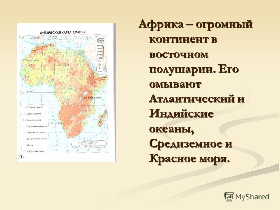 Африка – огромный континент в восточном полушарии. Его омывают Атлантический и Индийские океаны, Средиземное и Красное моря.