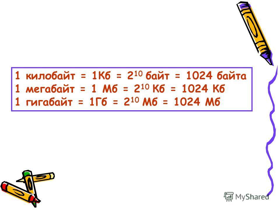 1 килобайт = 1Кб = 2 10 байт = 1024 байта 1 мегабайт = 1 Мб = 2 10 Кб = 1024 Кб 1 гигабайт = 1Гб = 2 10 Мб = 1024 Мб
