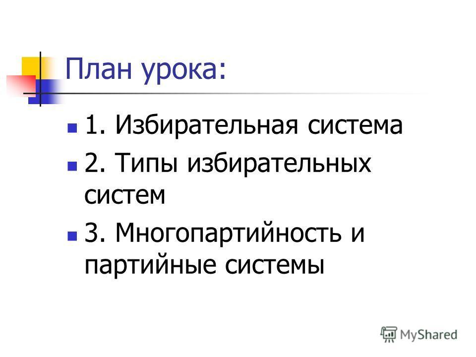 План урока: 1. Избирательная система 2. Типы избирательных систем 3. Многопартийность и партийные системы