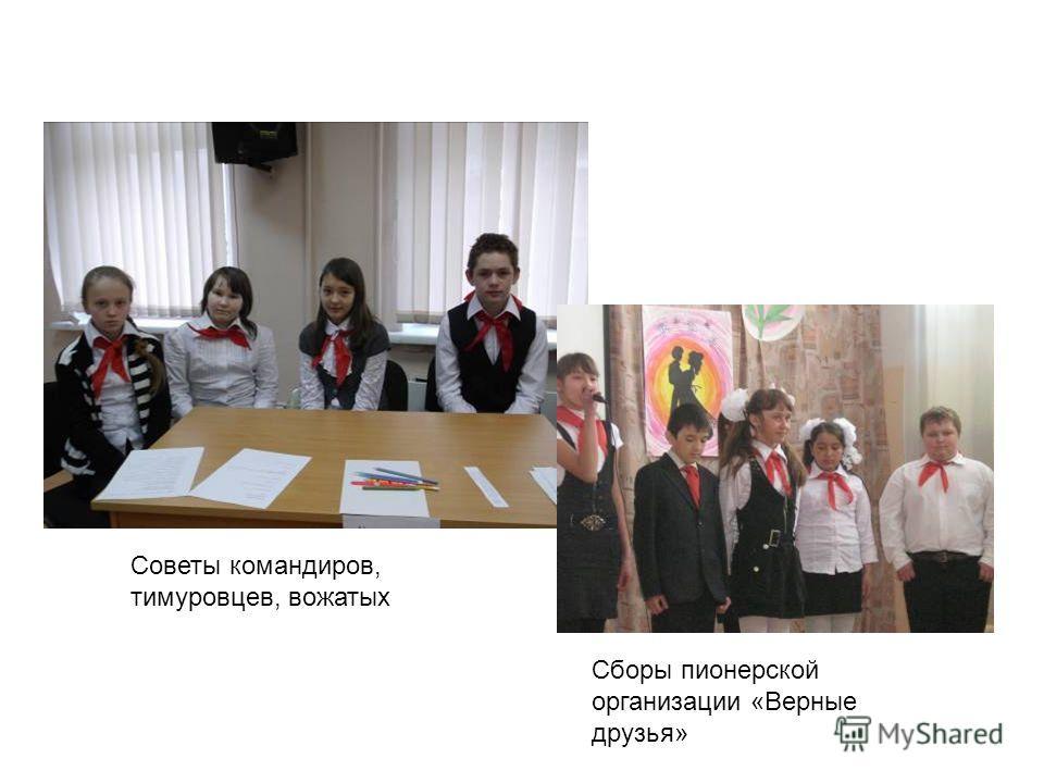 Сборы пионерской организации «Верные друзья» Советы командиров, тимуровцев, вожатых