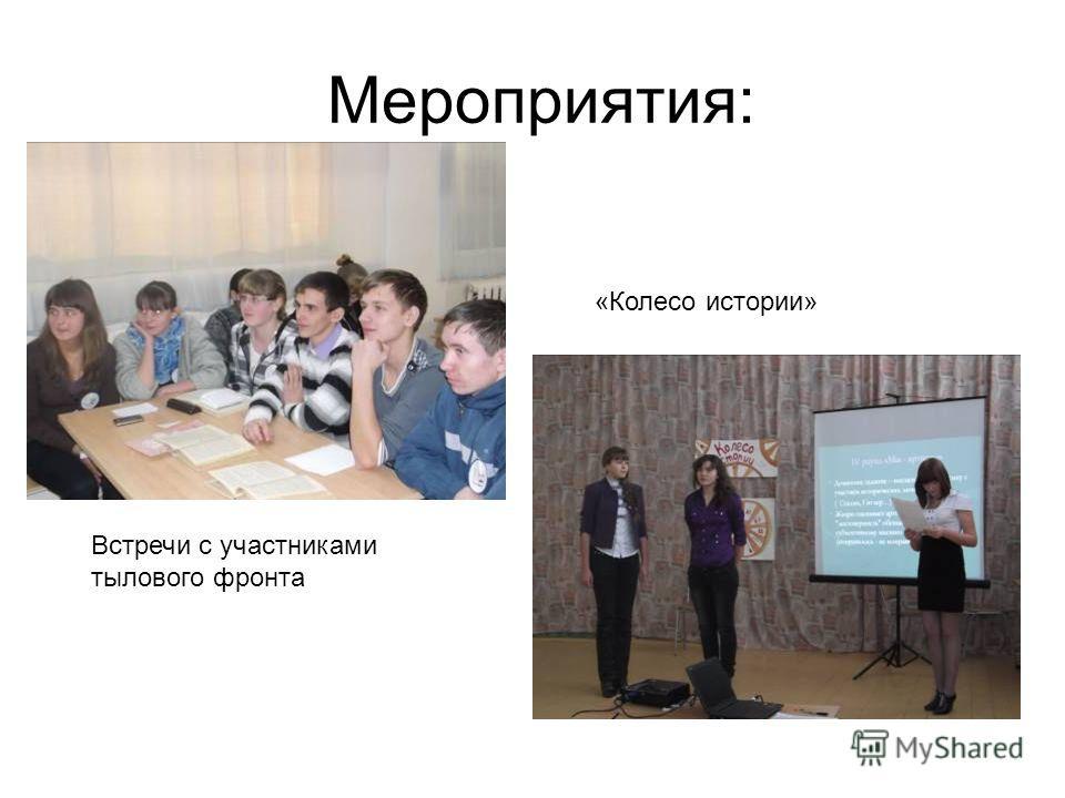 Мероприятия: Встречи с участниками тылового фронта «Колесо истории»