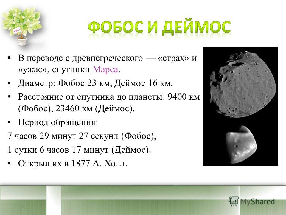 В переводе с древнегреческого «страх» и «ужас», спутники Марса. Диаметр: Фобос 23 км, Деймос 16 км. Расстояние от спутника до планеты: 9400 км (Фобос), 23460 км (Деймос). Период обращения: 7 часов 29 минут 27 секунд (Фобос), 1 сутки 6 часов 17 минут