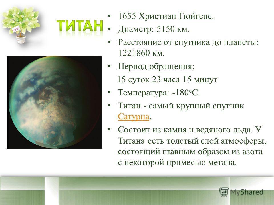 1655 Христиан Гюйгенс. Диаметр: 5150 км. Расстояние от спутника до планеты: 1221860 км. Период обращения: 15 суток 23 часа 15 минут Температура: -180 o C. Титан - самый крупный спутник Сатурна. Сатурна Состоит из камня и водяного льда. У Титана есть