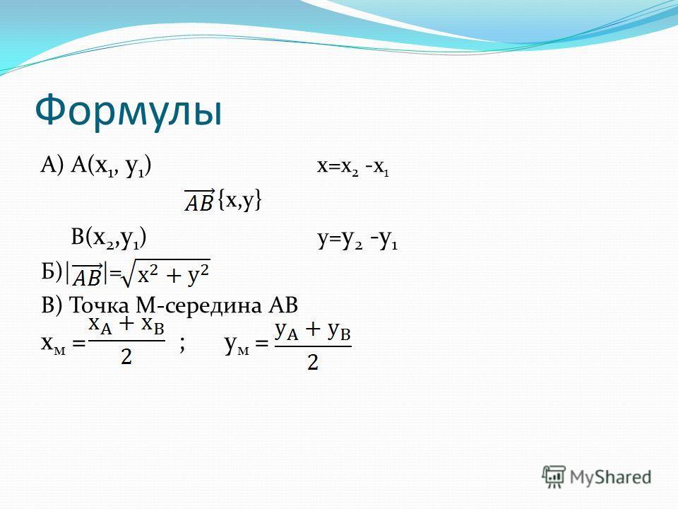 Формулы А) А( x 1, y 1 ) x= x 2 -x 1 {x,y} B( x 2,y 1 ) y= y 2 -y 1 Б)| |= B) Точка М-середина АВ x м = ; y м =
