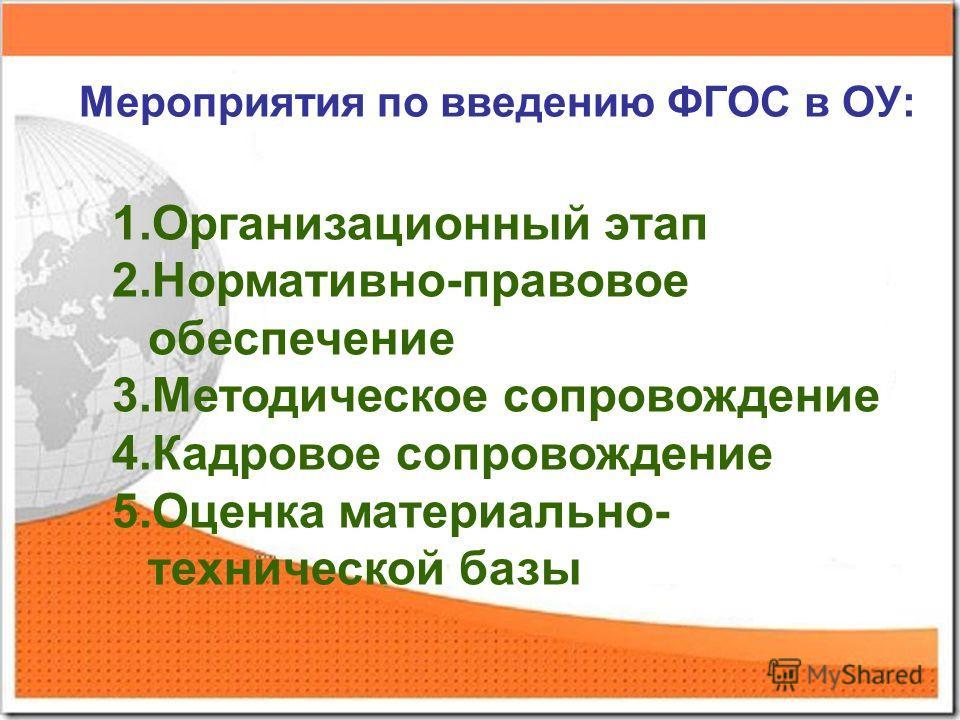 Мероприятия по введению ФГОС в ОУ: 1.Организационный этап 2.Нормативно-правовое обеспечение 3.Методическое сопровождение 4.Кадровое сопровождение 5.Оценка материально- технической базы
