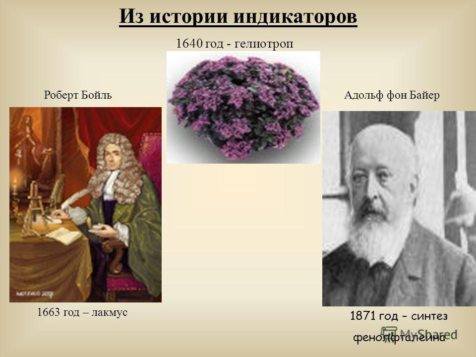 Из истории индикаторов 1640 год - гелиотроп 1663 год – лакмус 1871 год – синтез фенолфталеина Роберт БойльАдольф фон Байер