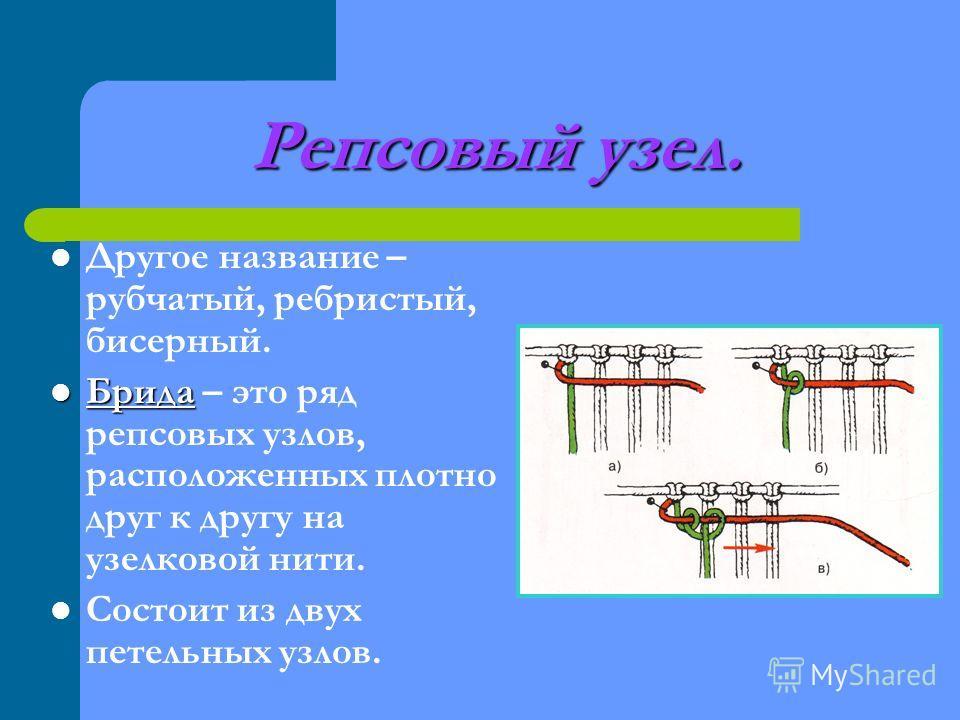 Репсовый узел. Другое название – рубчатый, ребристый, бисерный. Брида Брида – это ряд репсовых узлов, расположенных плотно друг к другу на узелковой нити. Состоит из двух петельных узлов.