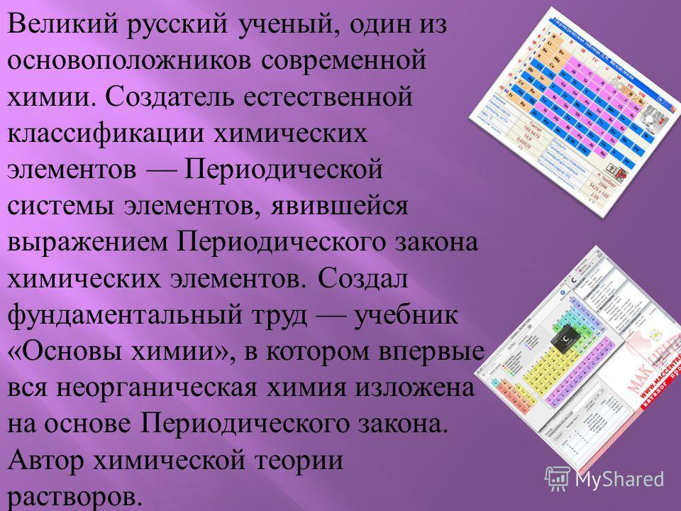 Великий русский ученый, один из основоположников современной химии. Создатель естественной классификации химических элементов Периодической системы элементов, явившейся выражением Периодического закона химических элементов. Создал фундаментальный тру