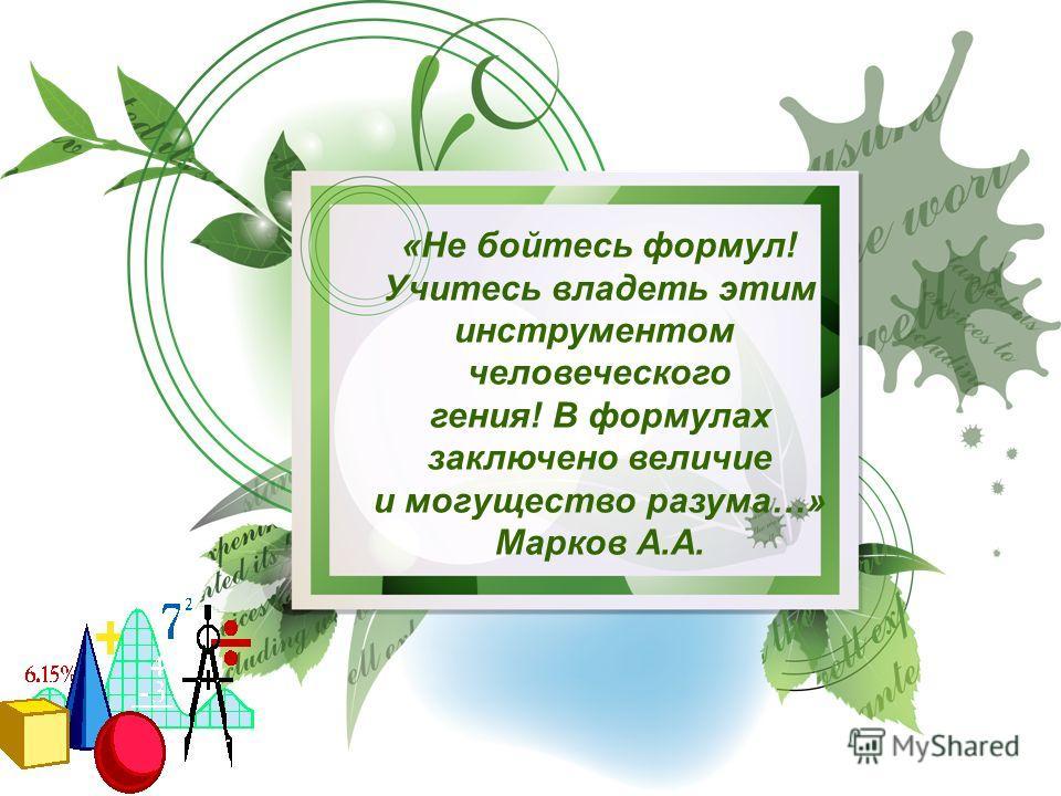 «Не бойтесь формул! Учитесь владеть этим инструментом человеческого гения! В формулах заключено величие и могущество разума…» Марков А.А.