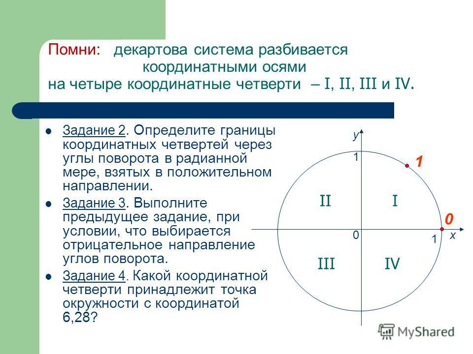 Помни: декартова система разбивается координатными осями на четыре координатные четверти – I, II, III и IV. Задание 2. Определите границы координатных четвертей через углы поворота в радианной мере, взятых в положительном направлении. Задание 3. Выпо