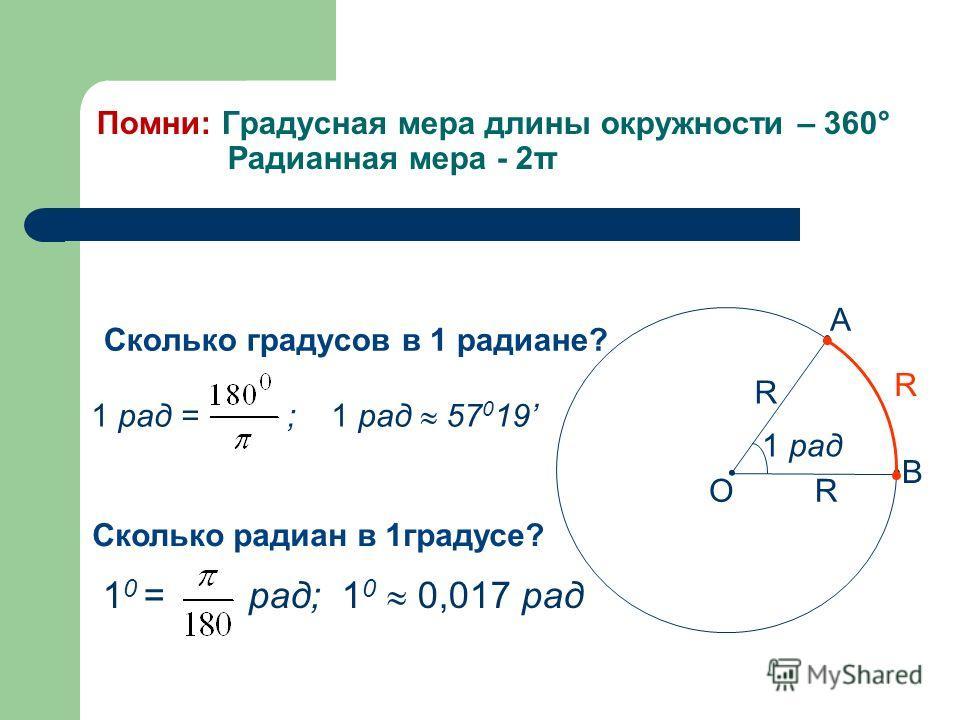 Сколько градусов в 1 радиане? 1 рад R R R A B O Сколько радиан в 1градусе? 1 0 = рад; 1 0 0,017 рад 1 рад = ; 1 рад 57 0 19 Помни: Градусная мера длины окружности – 360° Радианная мера - 2π
