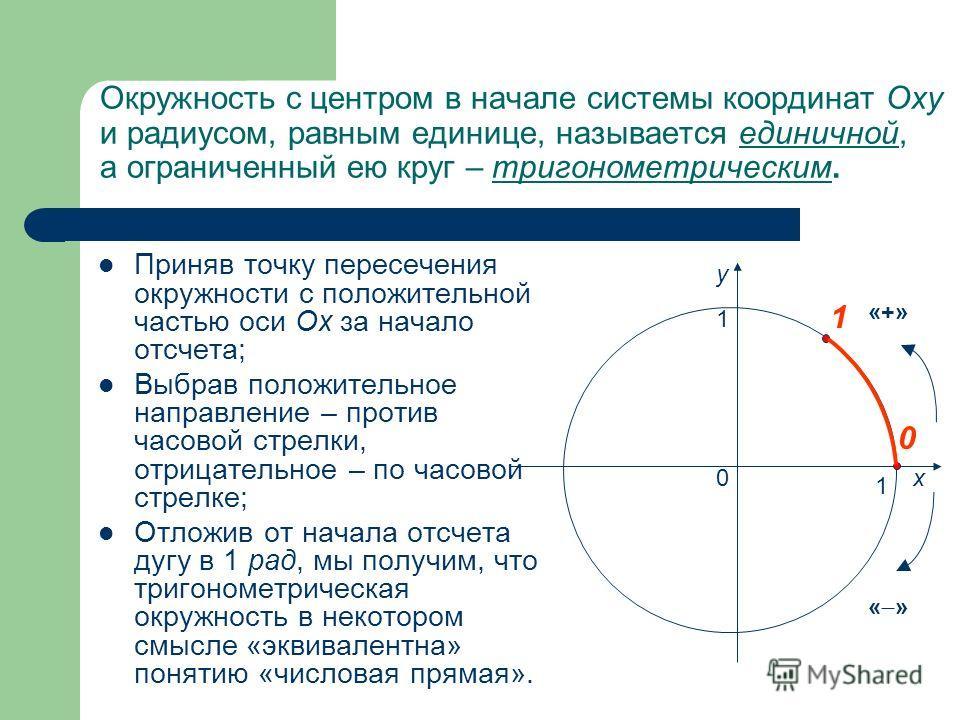 Окружность с центром в начале системы координат Oxy и радиусом, равным единице, называется единичной, а ограниченный ею круг – тригонометрическим. Приняв точку пересечения окружности с положительной частью оси Ох за начало отсчета; Выбрав положительн