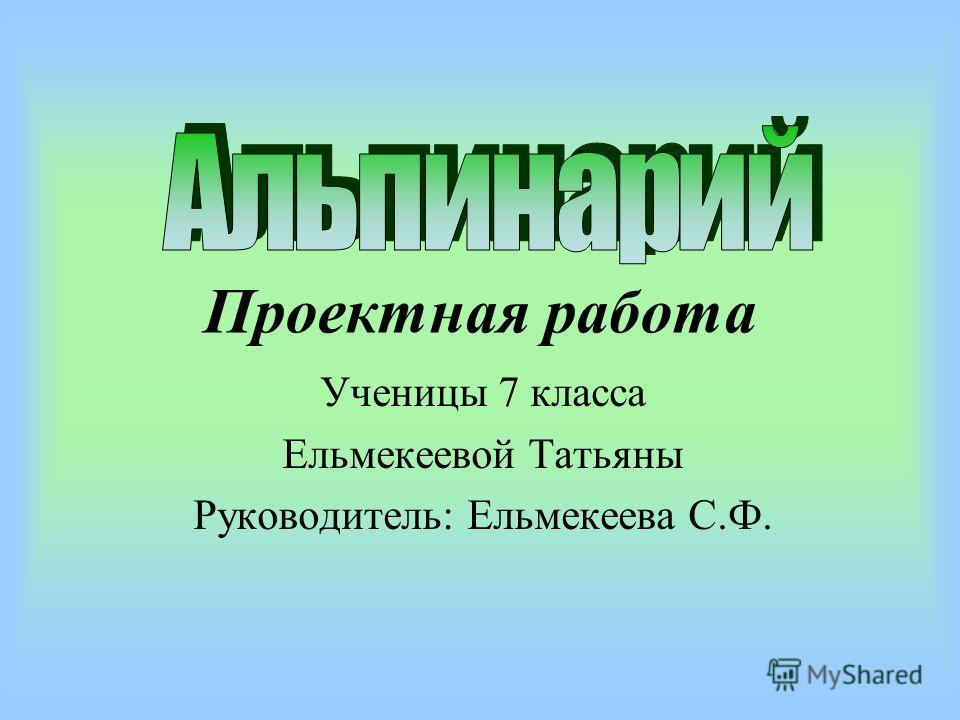 Проектная работа Ученицы 7 класса Ельмекеевой Татьяны Руководитель: Ельмекеева С.Ф.