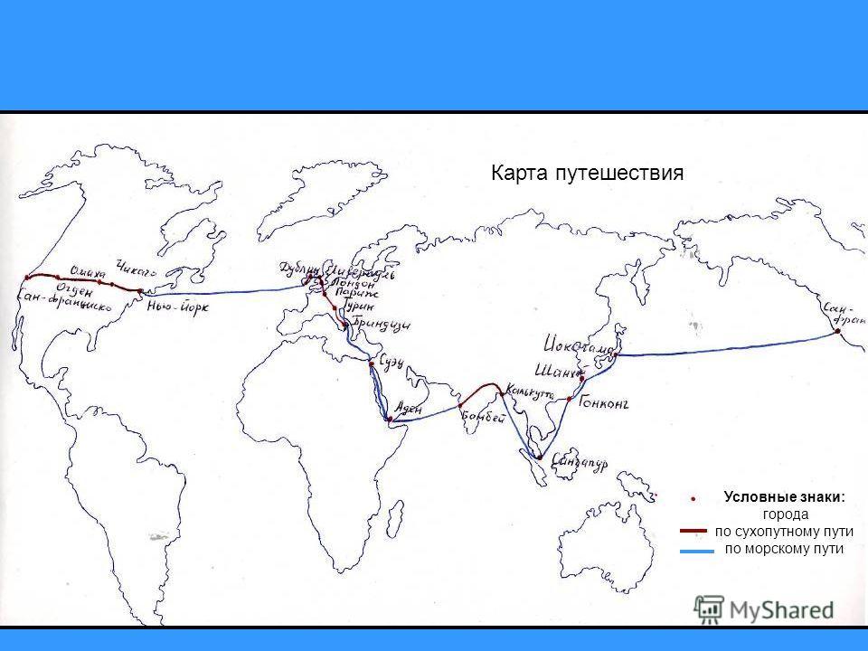 Карта путешествия Условные знаки: города по сухопутному пути по морскому пути