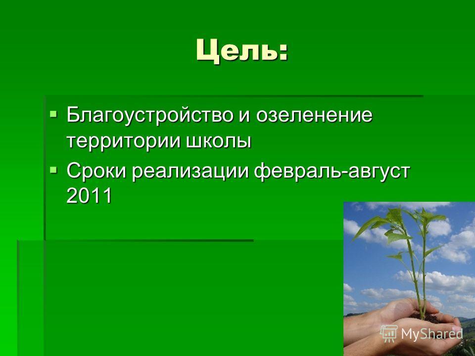 Цель: Благоустройство и озеленение территории школы Благоустройство и озеленение территории школы Сроки реализации февраль-август 2011 Сроки реализации февраль-август 2011