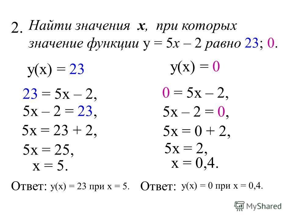 Найти значения х, при которых значение функции у = 5х – 2 равно 23; 0. у(х) = 0 0 = 5х – 2, 5х – 2 = 0, 5х = 0 + 2, 5х = 2, х = 0,4. Ответ: у(х) = 0 при х = 0,4. у(х) = 23 23 = 5х – 2, 5х – 2 = 23, 5х = 23 + 2, 5х = 25, х = 5. Ответ: у(х) = 23 при х
