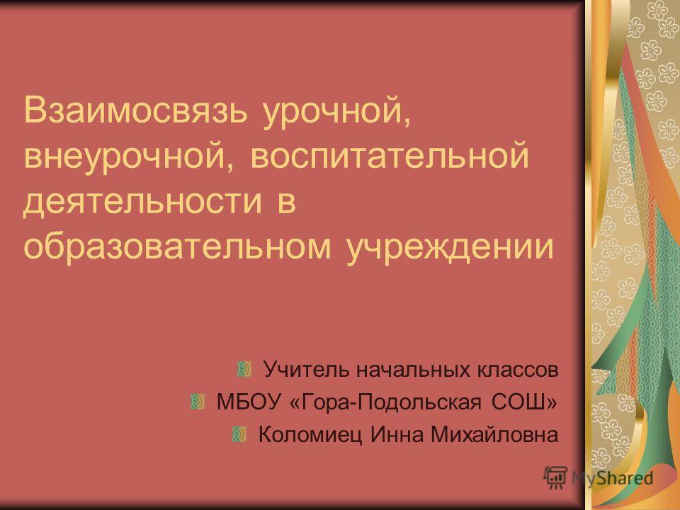 Взаимосвязь урочной, внеурочной, воспитательной деятельности в образовательном учреждении Учитель начальных классов МБОУ «Гора-Подольская СОШ» Коломиец Инна Михайловна