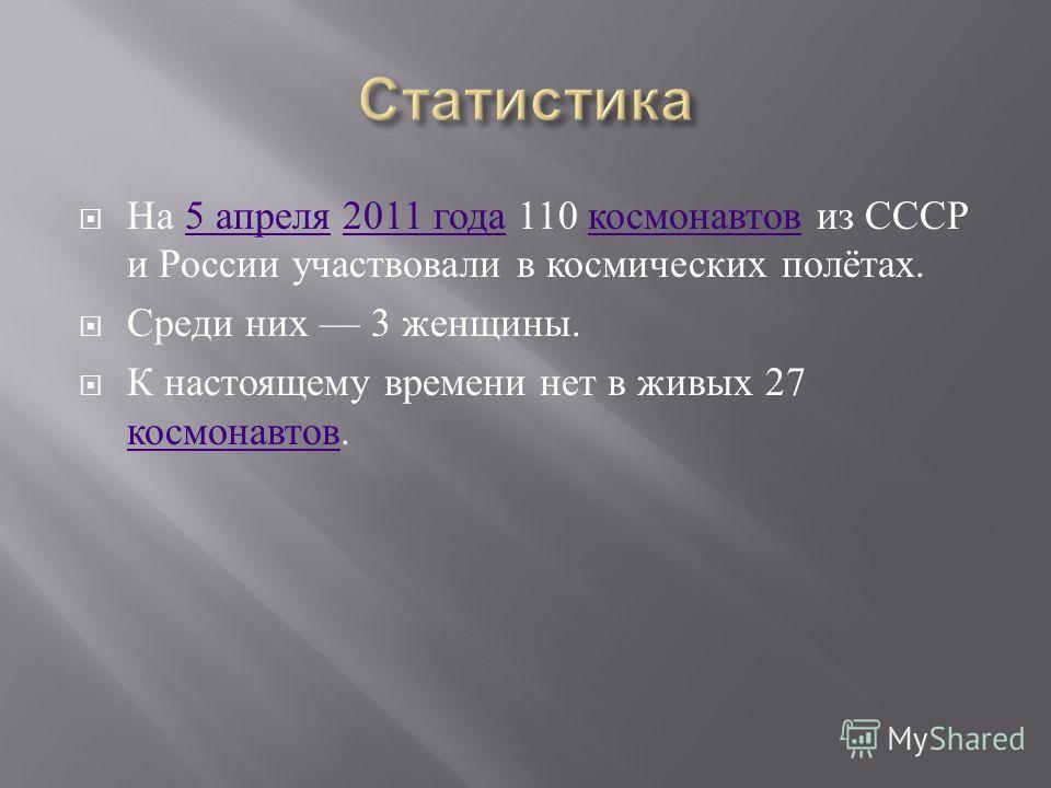 На 5 апреля 2011 года 110 космонавтов из СССР и России участвовали в космических полётах.5 апреля2011 года космонавтов Среди них 3 женщины. К настоящему времени нет в живых 27 космонавтов. космонавтов