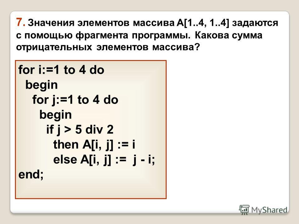 for i:=1 to 4 do begin for j:=1 to 4 do begin if j > 5 div 2 then A[i, j] := i else A[i, j] := j - i; end; 7. Значения элементов массива A[1..4, 1..4] задаются с помощью фрагмента программы. Какова сумма отрицательных элементов массива?