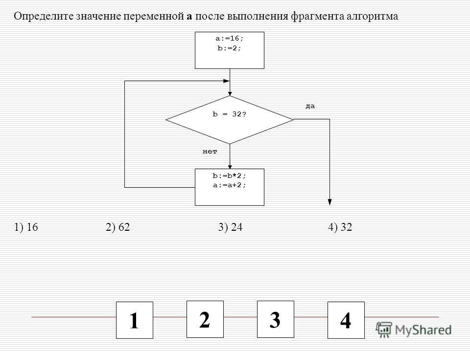 1 2 3 4 Определите значение переменной a после выполнения фрагмента алгоритма 1) 16 2) 62 3) 24 4) 32 b:=b*2; a:=a+2; a:=16; b:=2; b = 32? да нет