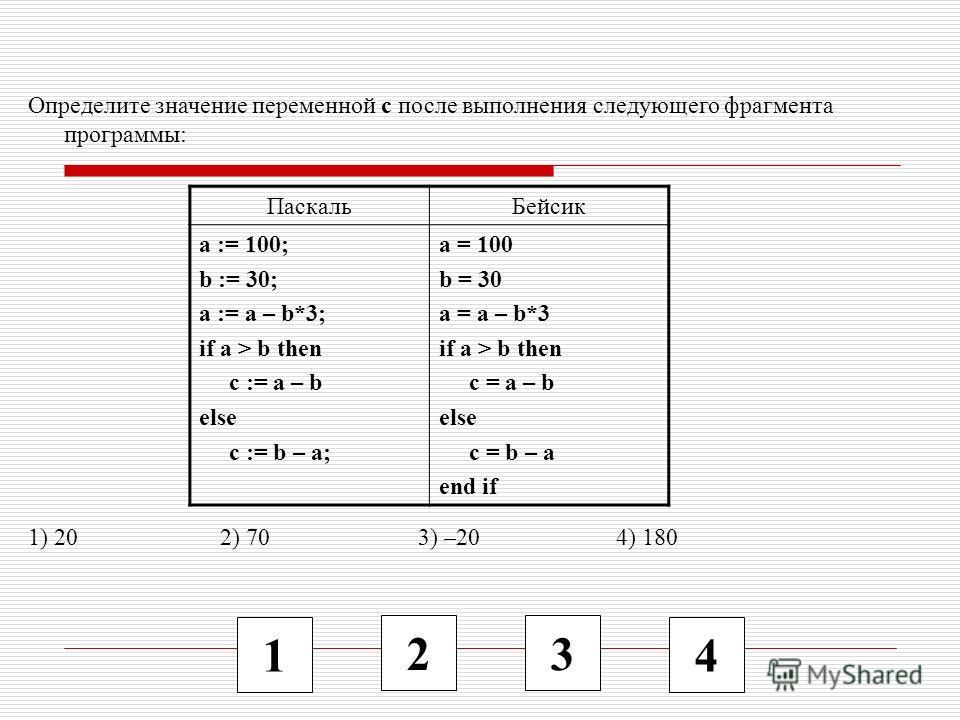 1 2 3 4 Определите значение переменной c после выполнения следующего фрагмента программы: 1) 20 2) 70 3) –20 4) 180 ПаскальБейсик a := 100; b := 30; a := a – b*3; if a > b then c := a – b else c := b – a; a = 100 b = 30 a = a – b*3 if a > b then c =