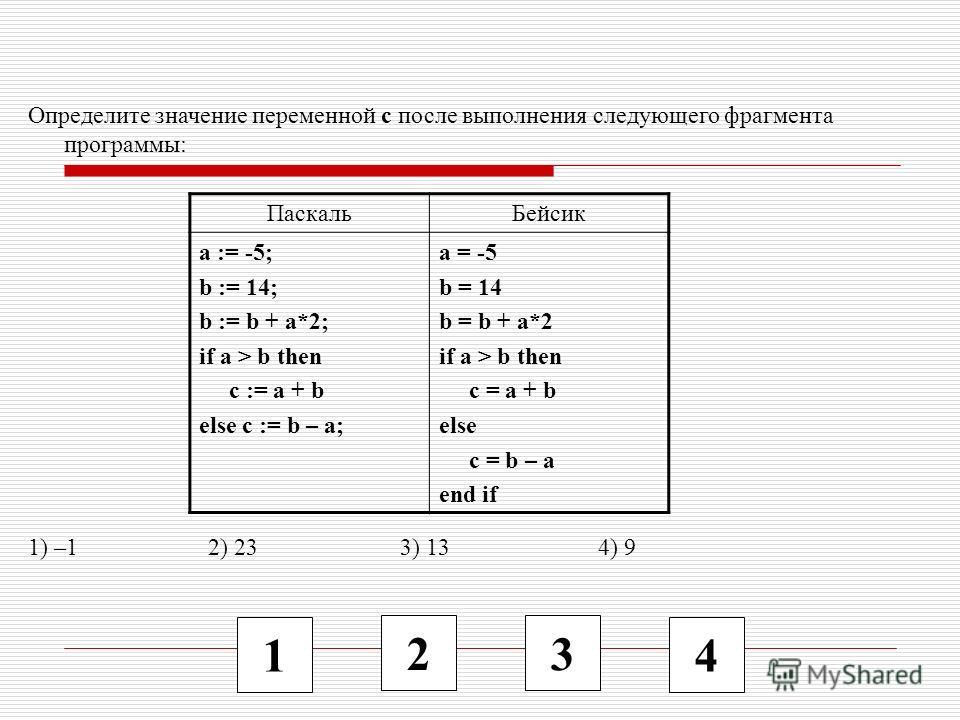 1 2 3 4 Определите значение переменной c после выполнения следующего фрагмента программы: 1) –1 2) 23 3) 13 4) 9 ПаскальБейсик a := -5; b := 14; b := b + a*2; if a > b then c := a + b else c := b – a; a = -5 b = 14 b = b + a*2 if a > b then c = a + b