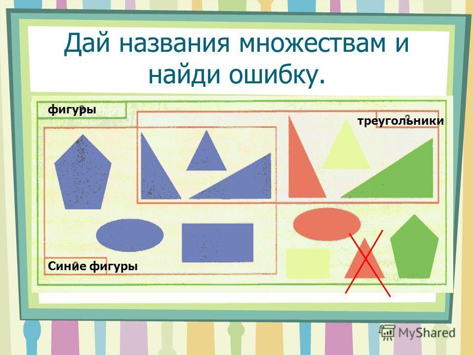 Дай названия множествам и найди ошибку. фигуры треугольники Синие фигуры