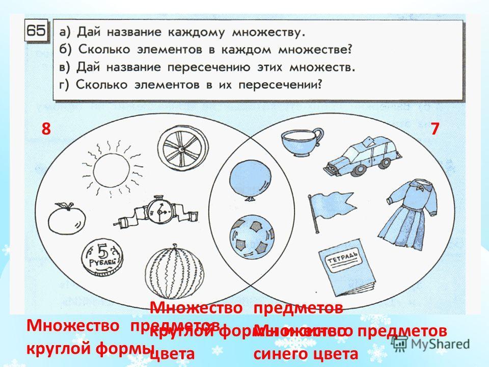 87 Множество предметов круглой формы Множество предметов синего цвета Множество предметов круглой формы и синего цвета
