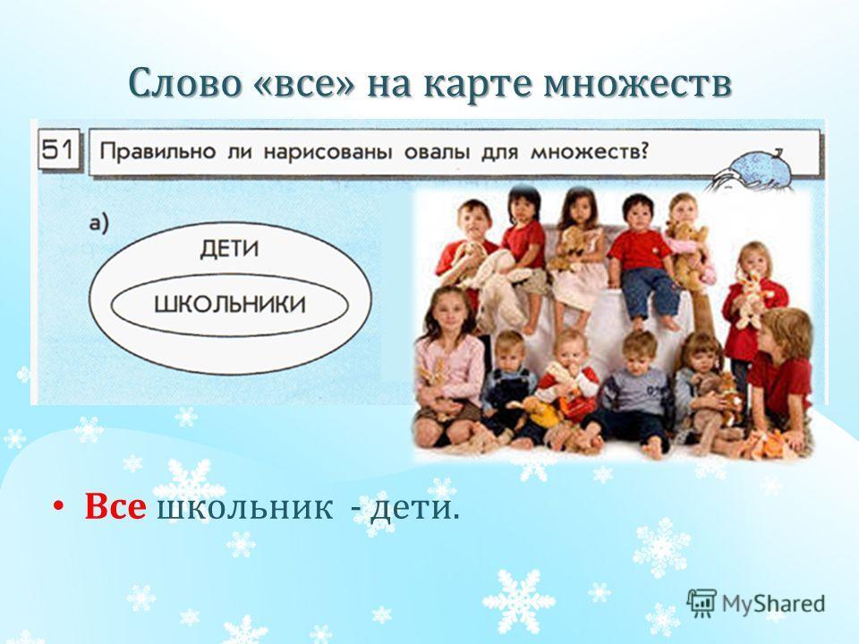 Слово «все» на карте множеств Все школьник - дети.