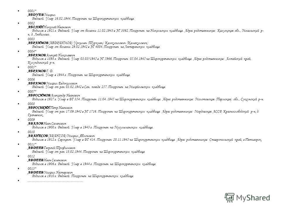 0001* АБДУЕВ Михаил Рядовой. Умер 16.02.1944. Похоронен на Широкореченском кладбище. 0002 АБОЛИН Николай Иванович Родился в 1921 г. Рядовой. Умер от болезни 11.02.1943 в ЭГ 3862. Похоронен на Никольском кладбище. Адрес родственников: Калужская обл.,