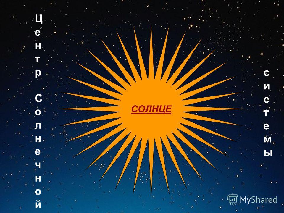 СОЛНЦЕ Центр СолнечнойЦентр Солнечной системысистемы