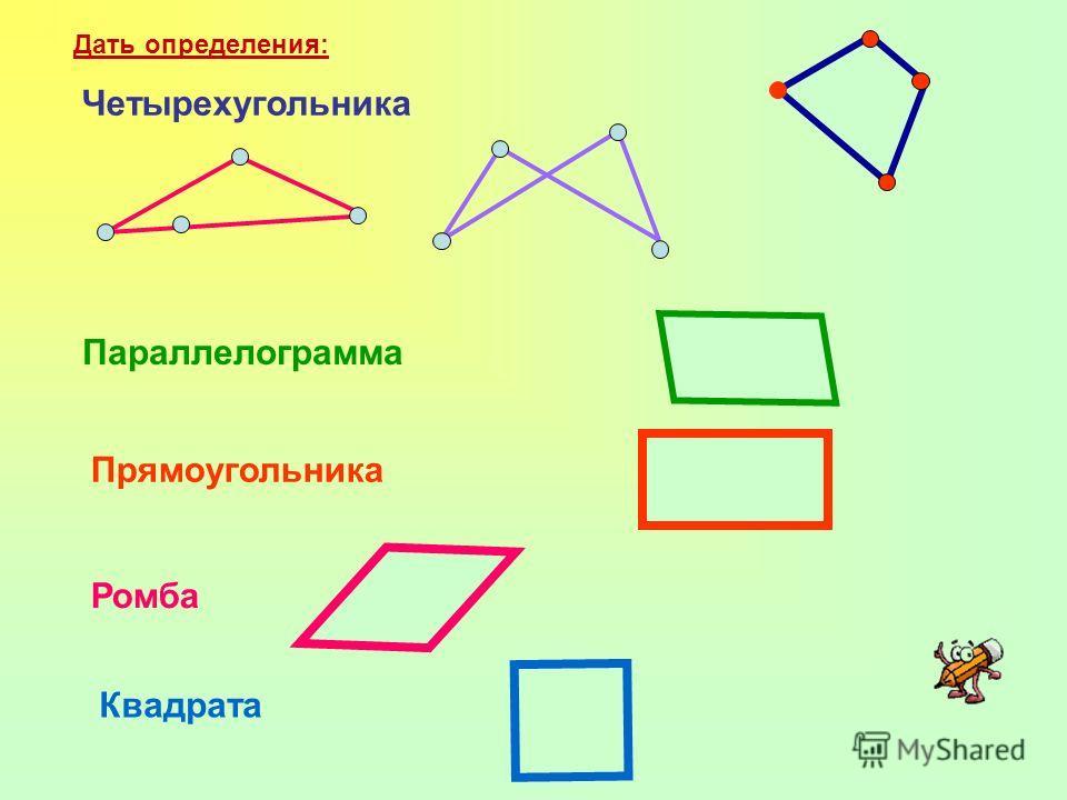 Дать определения: Четырехугольника Параллелограмма Прямоугольника Ромба Квадрата